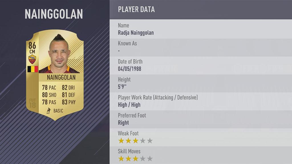Раджа Наингголан в FIFA 18