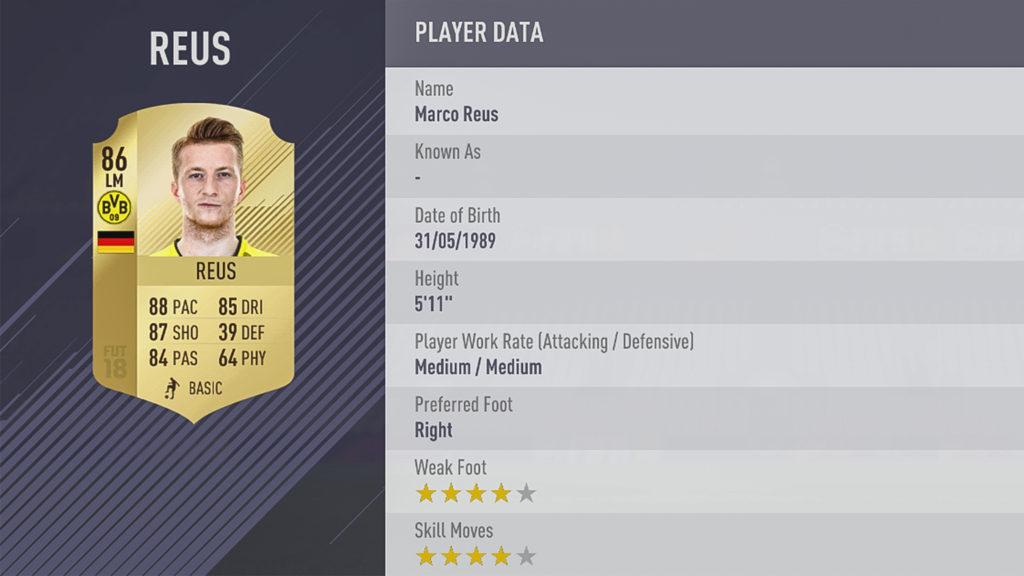 Марко Ройс в FIFA 18
