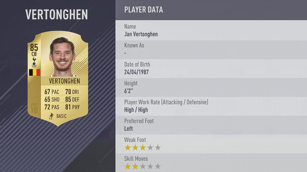 Ян Вертонген в FIFA 18