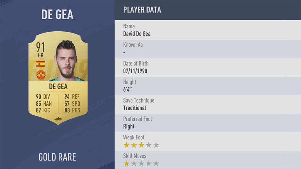 Давид Де Хеа FIFA 19